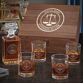 Scales of Justice Custom Decanter Box Set – Gift for Lawyer