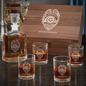Police Badge Personalized Whiskey Gift Set for Police