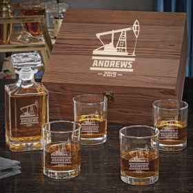 Oilfield Personalized Whiskey Decanter Set - Oilfield Gift