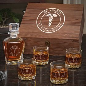Medical Arts Personalized Whiskey Decanter Set - Gift for Doctors