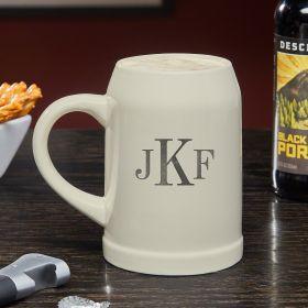 Classic Monogram Engraved Ceramic Beer Stein