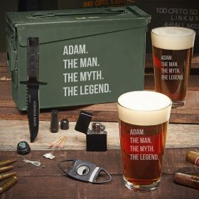 Man Myth Legend Personalized 30 Cal Ammo Can Manly Gift Set