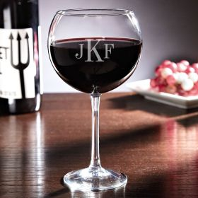 Monogrammed Red Wine Glass, 17 oz