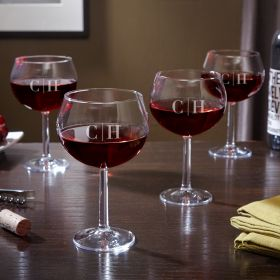 Quinton Monogrammed Red Wine Glasses, Set of 4