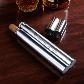 Engraved Stainless Steel Cigar Case and Flask Combo