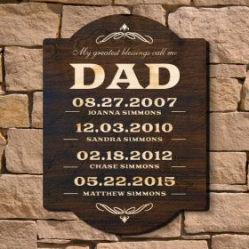 Dads Greatest Blessings - Personalized Wall Sign (Signature Series)
