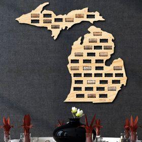 Michigan Wine Cork Map