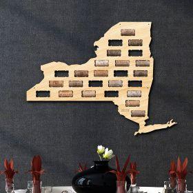 New York Wine Cork Map