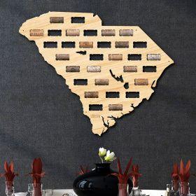 South Carolina Wine Cork Map