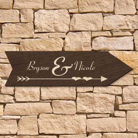 Direction of Love Personalized Wood Sign for Home (Signature Series)