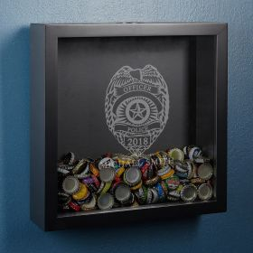 Police Badge Personalized Beer Cap Shadow Box