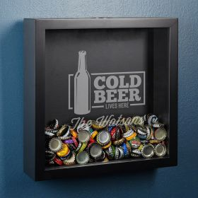 Cold Beer Lives Here Custom Shadow Box