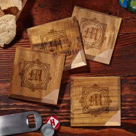 Winchester Copper Dipped Custom Wood Coasters, Set of 4