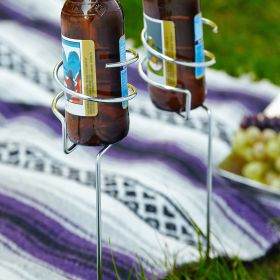 Picnic Brew Stix Chrome Bottle Holder Stakes, Set of 2