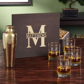 Oakmont Gold Whiskey Gift Set with Cocktail Shaker