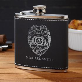 Black Suede Police Badge Hip Flask