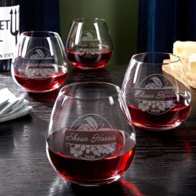 Rhone Valley Personalized Stemless Wine Glasses, Set of 4