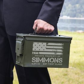 American Heroes Personalized 50 Caliber Ammo Box Can