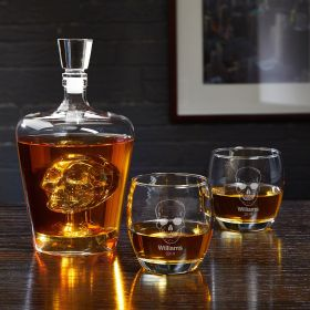 Phantom Skull Decanter and Personalized Rocks Glasses Set