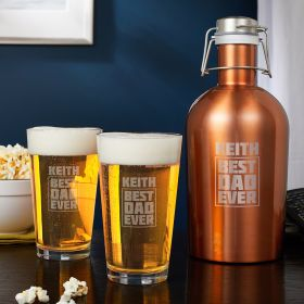 Best Dad Ever - Engraved Beer Growler and Pint Glass Set Gift for Dads