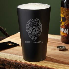 Police Badge Engraved Stainless Steel Pint Glass
