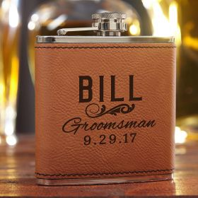 Classic Groomsman Gift Custom Saddle Brown Flask
