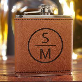 Emerson Saddle Brown Personalized Liquor Flask