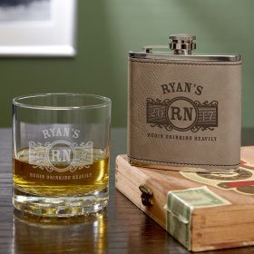 Marquee Personalized Whiskey Glass and Flask Set