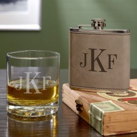 Classic Monogram Custom Whiskey Glass and Flask Set