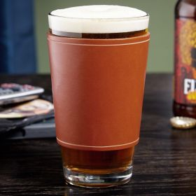 Marshal Pint Glass with Leather Wrap