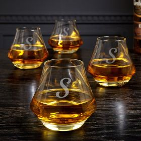 DiMera Engraved Whiskey Glasses Set of 4