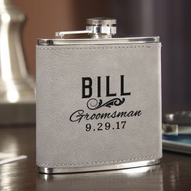 Classic Groomsman Slate Gray Personalized Flask