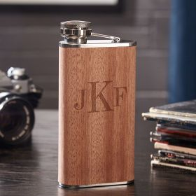 Classic Monogram Wood-Wrapped Drinking Flask 9 oz.