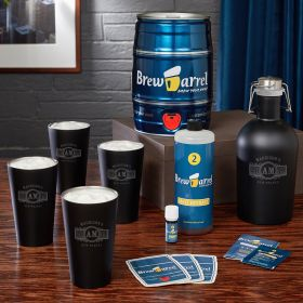 Marquee Engraved Beer Growler with Stainless Pints and Craft Brew Kit