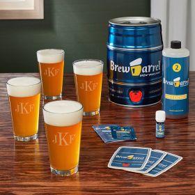 Classic Monogram Pint Set and Brew Barrel Beer Making Kit