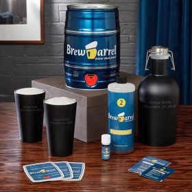 Personalized Lager Beer Brewing Kit with Growler and Pints