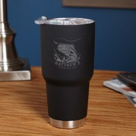 Big Catch Black Stainless Steel Engraved Tumbler