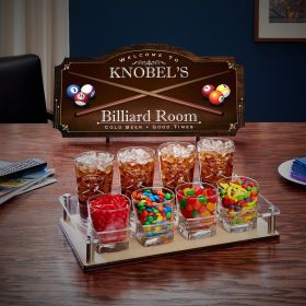 Billiard Room Custom Game Night Sign & Serving Set