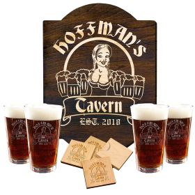Bombshell Barmaid Engraved Beer Glass Set and Sign