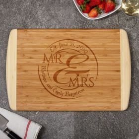 When Love Comes Together Natural Bamboo Cutting Board with Custom Engraving