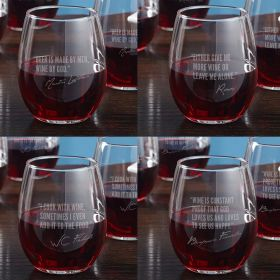 Famous Men of Wine Etched Stemless Glass set of 4 (4 Designs)