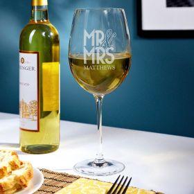 Happy Couple Personalized Wedding Wine Glass
