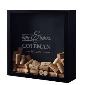 Mr. & Mrs. Custom Wine Cork Shadow Box