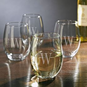 Personalized Stemless White Wine Glasses, Set of 4