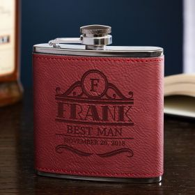 Rockefeller Red Leatherette Custom Hip Flask