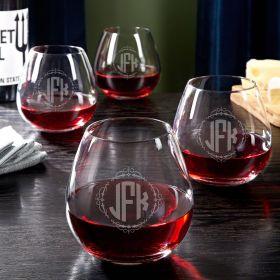 Wedding Monogram Stemless Wine Glasses Set of 4