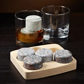 Round Whiskey Stones 6 Piece Set w/ FREE Tumblers (Engravable)
