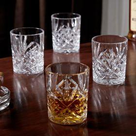 Dublin Cut Crystal Whiskey Glasses, Set of 4