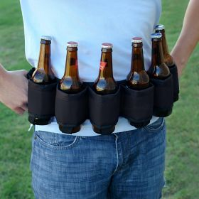 Deluxe Six-Pack Beer Belt Holster, Black