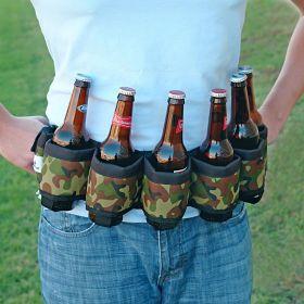 Deluxe Six-Pack Beer Belt Holster, Camo